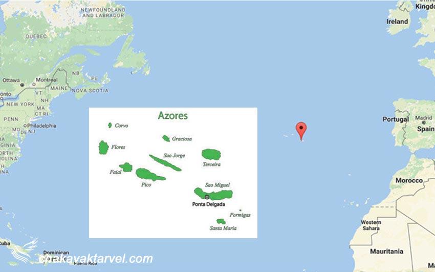 نقشه مجمع الجزایر آزور که به سه گروه جغرافیایی تقسیم می شوند
