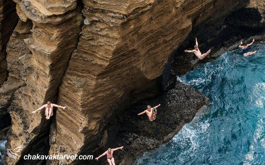 شیرجه آزاد در دریا و صخره نوردی و دره نوردی