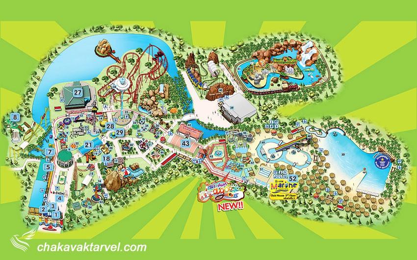 نقشه پارک شهر سیام در تایلند