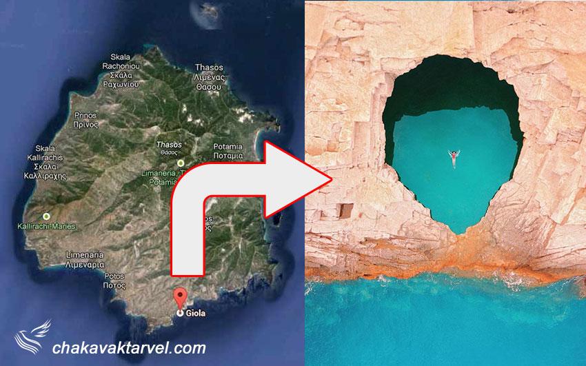 نقشه جزیره تاسوس و محل قرارگیری استخر جیولا دسترسی به جزیره تاسوس و تفریحات آن