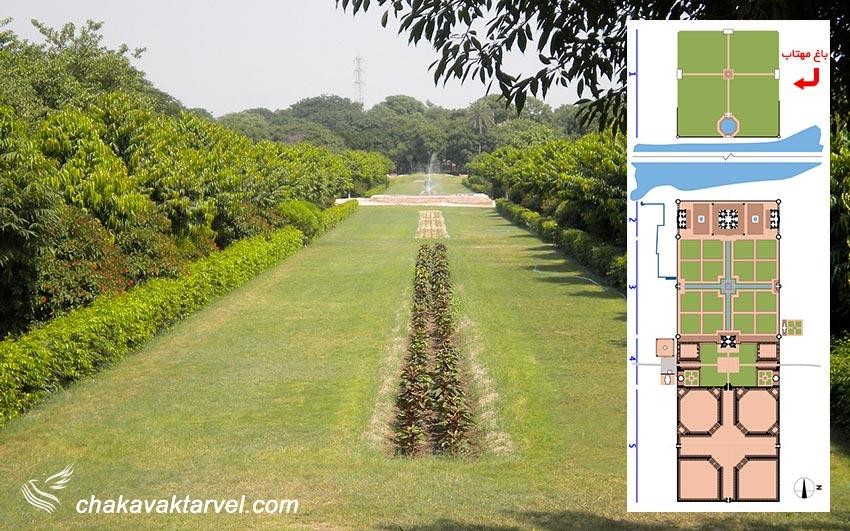 باغ مهتاب در آگرا و موقعیت و نقشه قرارگیری باغ مهتاب در کنار بنای تاج محل