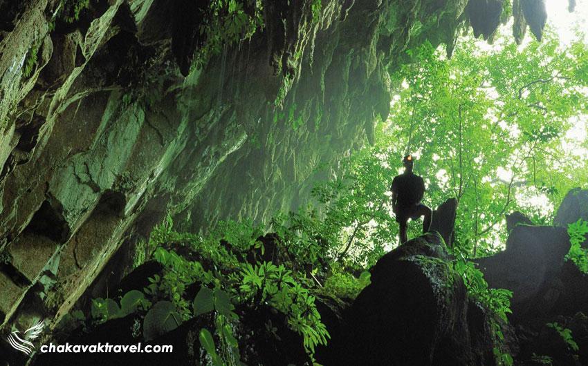 آب و هوای ایالت ساراواک - غار در دل جنگل در پارک ملی ساراواک مالزی