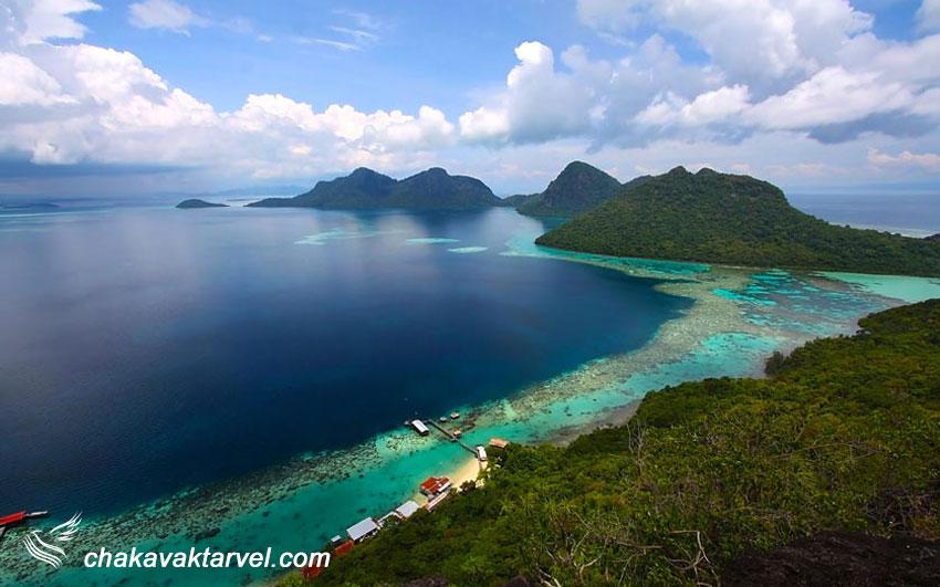 ساحل زیبا و بکر در جزیره صباح مالزی