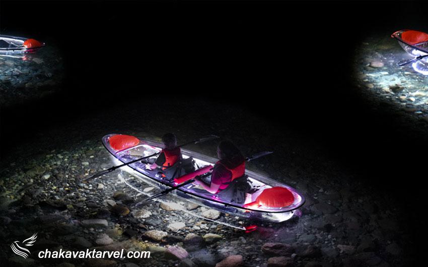 کایاک سواری جاذبه گردشگری جذاب در شب
