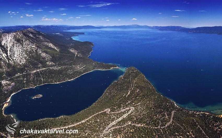نمای بالا از دریاچه تاهو