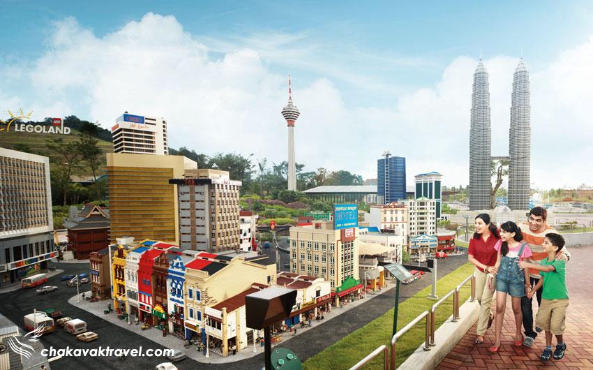 شهر کوالالامپور مینیاتوری و ببرجهای دوقلوی پتروناس مالزی با لگو شاخته شده در سرزمین کوچک یا Miniland