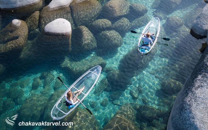 قایل های شفاف و کایاک سواری در دریاچه تاهو