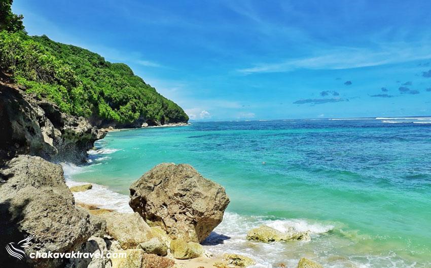 نمایی از گوه و جنگل و اقیانوس ساحل کاسه سبز بالی