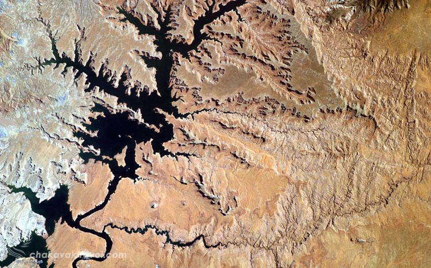 عکس ناسا از ایستگاه فضایی EarthKAM که از این دریاچه پاول Lake Powell