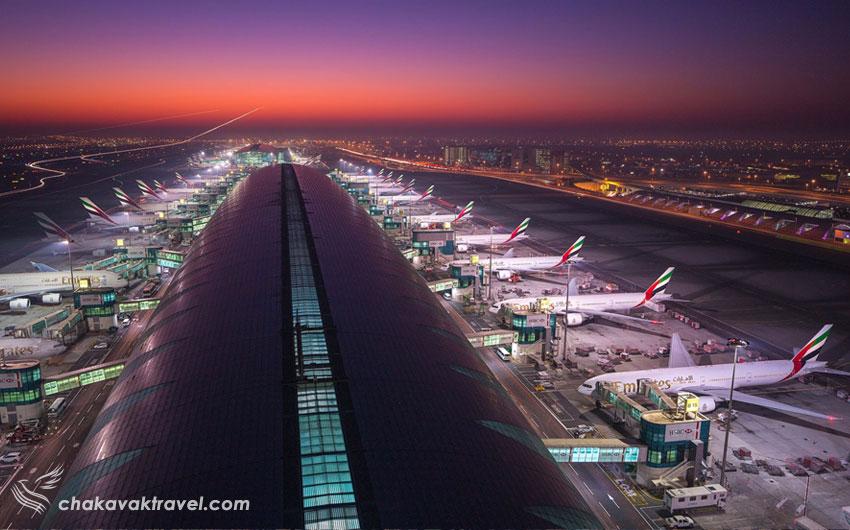 پایاته های فرودگاه DXB یا ترمینال های فرودگاه بین المللی دبی امارات Dubai International Airport