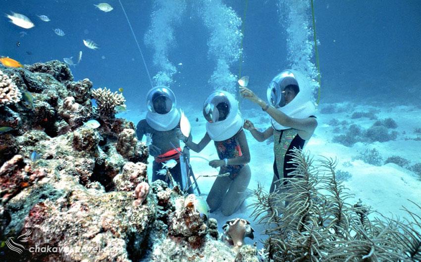 انواع Underwater Diving مقاسه اسنورکلینگ Snorkeling و غواصی معمولی Underwater Diving در جزیره  اسنورکلینگ Snorkeling قواصی سطحی در جزیره koh larn یا koh lan که به جزیره مرجان هم معروف است. جزیره لان Koh Lan یا جزیره لارن koh larn معرفی سواحل و جزیره های اطراف جزیره لارن