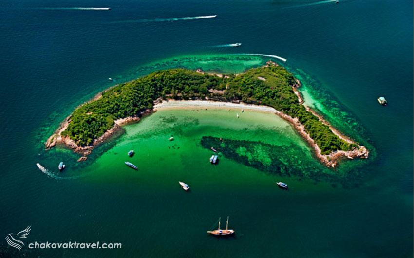 جزیره ساک Koh Sak در پاتایا تایلند جزیره کوه ساک نعلی شکل ویژگی ها و مشخصات جزیره ساک و سواحل Koh Sak ساحل