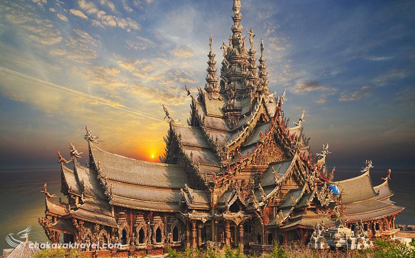 معماری ساختمان تمام چوبی پناهگاه یا معبد حقیقت پاتایا Sanctuary of Truth in Pattaya در تایلند و هدف از ساخت آن