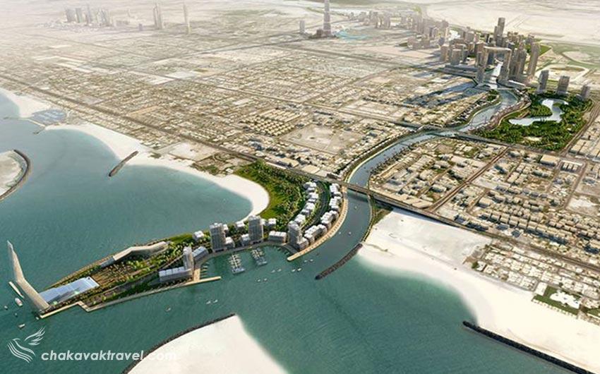 نمای کلی شهر دبی و کانال آبی دبی Dubai Canalکانال آبی دبی Dubai Canal